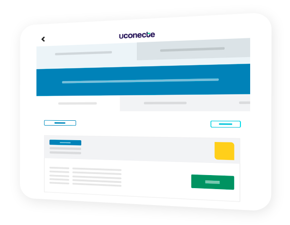 Tablet com uma tela de ofertas de empréstimo consignado na uConecte