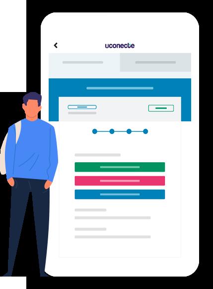 Celular com uma tela de contrato de empréstimo consignado na uConecte